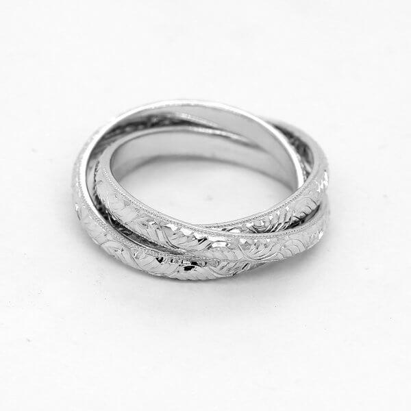 Vintage engraved trinity wedding ring