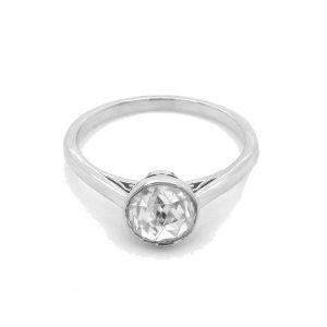 Bezel Gold Engagement Ring with RoseCut Moissanite