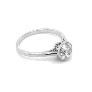 Double Rose Cut Moissanite Bezel Engagment Ring