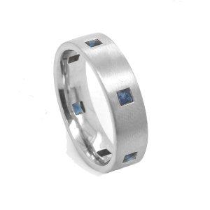 French Sapphires Men's Wedding Ring 6mm